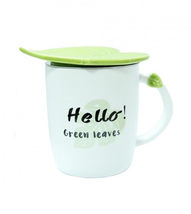 Фото - Чашка керамическая Листик Helo! Green Leaves купить в киеве на подарок, цена, отзывы