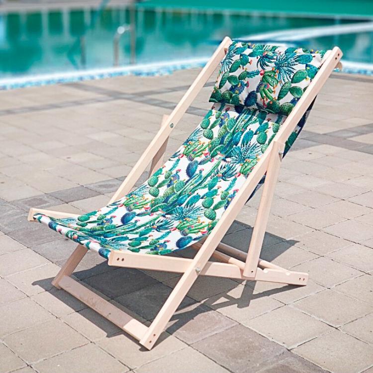 Фото - Шезлонг складной для пляжа и бассейна Зеленые Кактусы купить в киеве на подарок, цена, отзывы