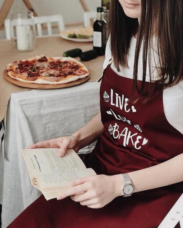 Фото - Фартук Live. Love. Bake (Бордо) купить в киеве на подарок, цена, отзывы