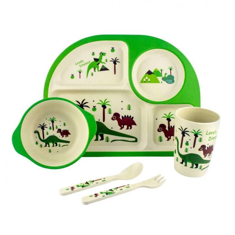 Фото - Детская бамбуковая посуда 3 в 1 Динозавры (зеленый) купить в киеве на подарок, цена, отзывы