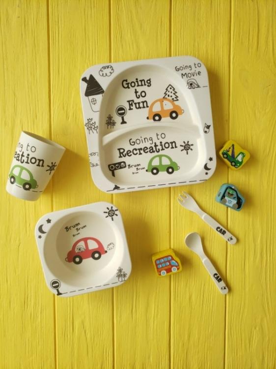 Фото - Детская бамбуковая посуда 2 в 1 машынка (белый ) купить в киеве на подарок, цена, отзывы