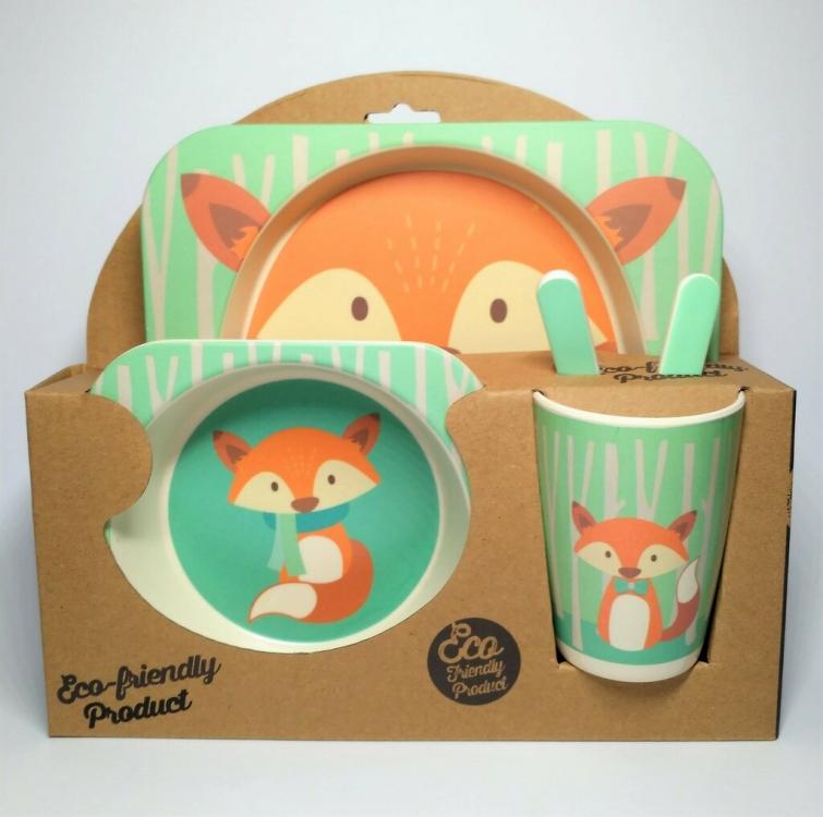 Фото - Детская бамбуковая посуда 2 в 1 Лиса (бирюзовый ) купить в киеве на подарок, цена, отзывы