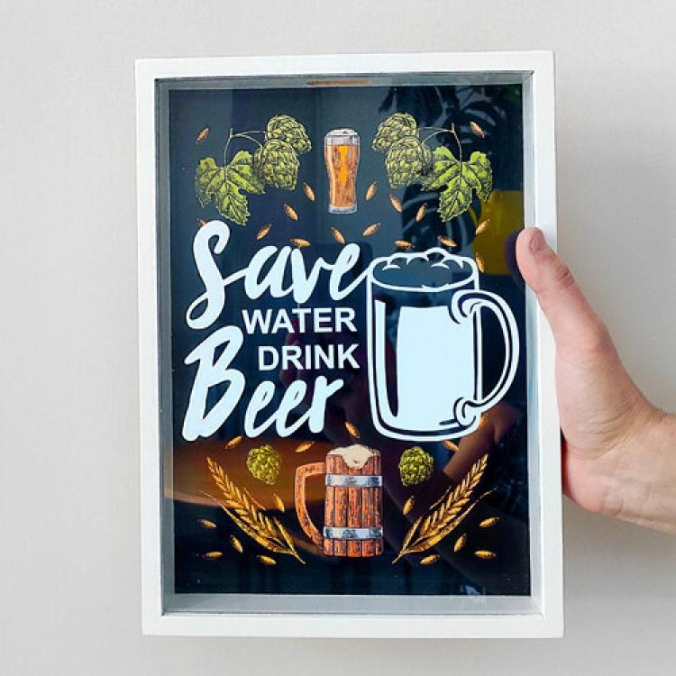 Фото - Копилка для пивных крышек Береги природу, пей пиво купить в киеве на подарок, цена, отзывы