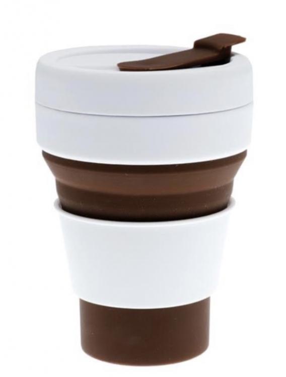 Фото - Складная силиконовая чашка 350 мл коричневая купить в киеве на подарок, цена, отзывы