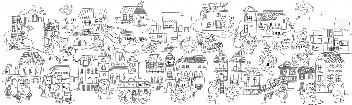 Фото - Обои раскраска - Сказочный город №2 2.0х0.6м купить в киеве на подарок, цена, отзывы