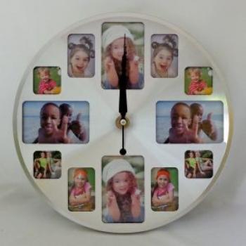 Фото - Часы средние круглые 12 фоторамок 30 см купить в киеве на подарок, цена, отзывы