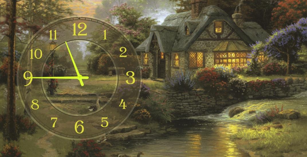 Фото - Часы на холсте Дом (Томас Кинкейд) 25х50 купить в киеве на подарок, цена, отзывы