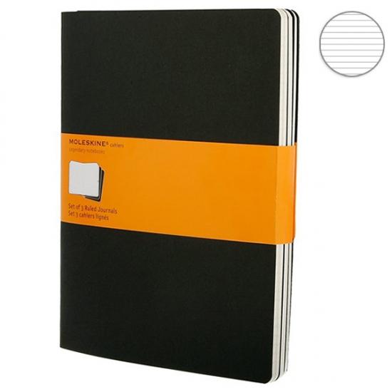 Фото - 3 блокнота Moleskine Cahier больших черных оранж купить в киеве на подарок, цена, отзывы