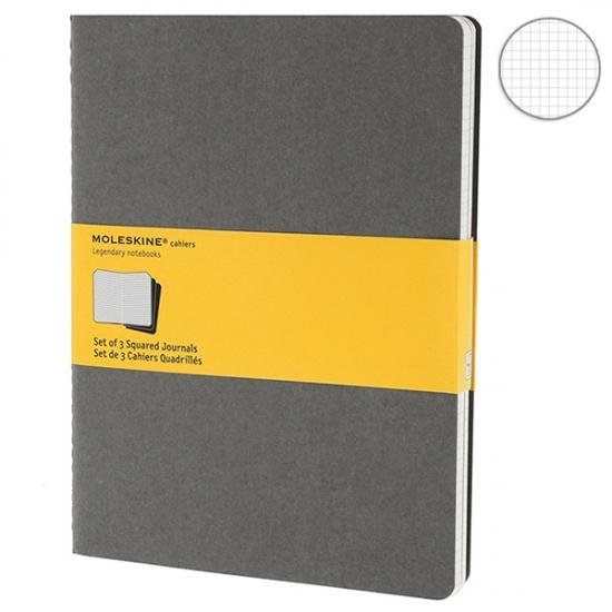Фото - 3 блокнота Moleskine Cahier больших серых купить в киеве на подарок, цена, отзывы