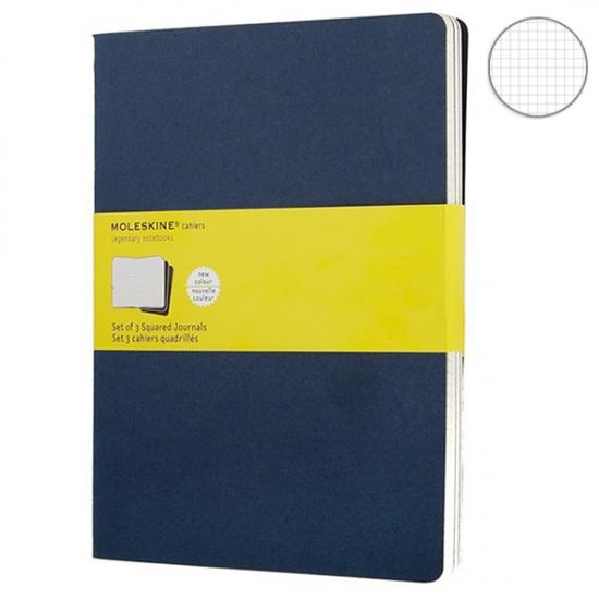 Фото - 3 блокнота Moleskine Cahier больших синих купить в киеве на подарок, цена, отзывы