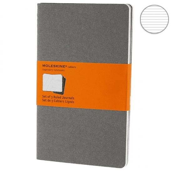 Фото - 3 блокнота Moleskine Cahier yellow серых купить в киеве на подарок, цена, отзывы