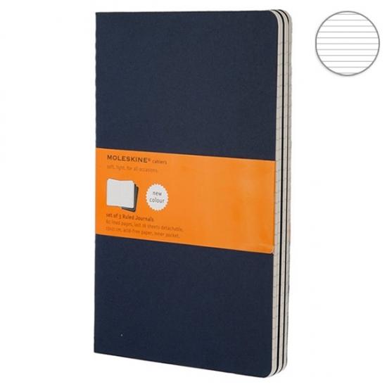 Фото - 3 блокнота Moleskine Cahier средних синих купить в киеве на подарок, цена, отзывы