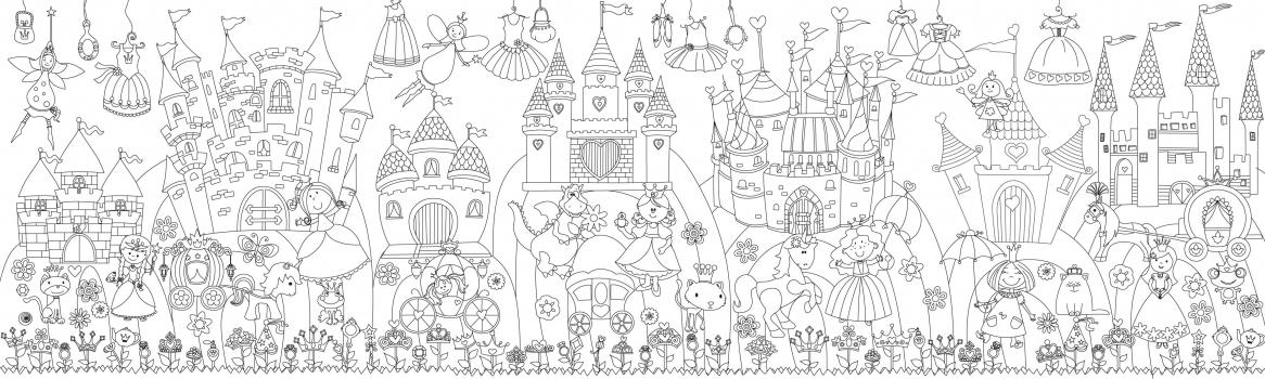 Фото - Обои раскраска - Принцессы в сказочном королевстве 2.0х0.6 купить в киеве на подарок, цена, отзывы