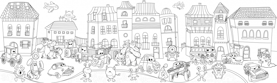 Фото - Обои раскраска - Сказочный город №1 2.0х0.6м купить в киеве на подарок, цена, отзывы