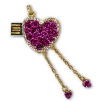 Фото - Флешка 8gb металл со стразами Сердечко с розочками купить в киеве на подарок, цена, отзывы