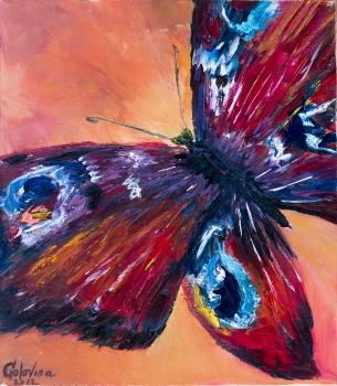 Фото - Картина маслом Бабочка 40х35см купить в киеве на подарок, цена, отзывы
