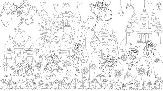 Фото - Обои раскраска - Принцессы Винкс 1.0х0.6м купить в киеве на подарок, цена, отзывы