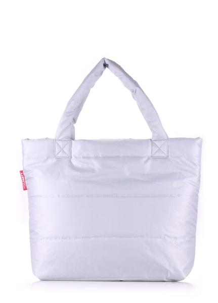 Фото - Болоньевая сумка на синтепоне серебряная Pool купить в киеве на подарок, цена, отзывы