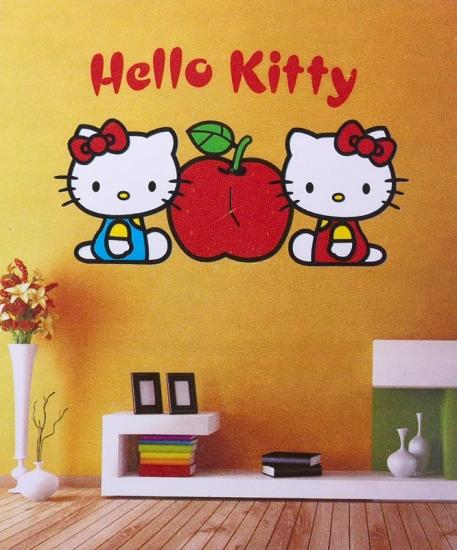 Фото - ЧАСЫ НАКЛЕЙКИ НА СТЕНУ HELLO KITTY купить в киеве на подарок, цена, отзывы