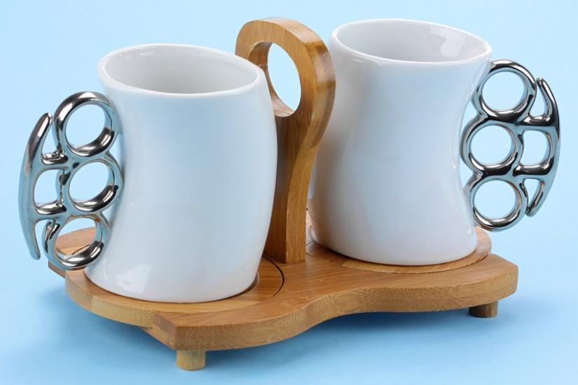 Фото - Чашки-кастет с бамбуковой подставкой 200мл купить в киеве на подарок, цена, отзывы