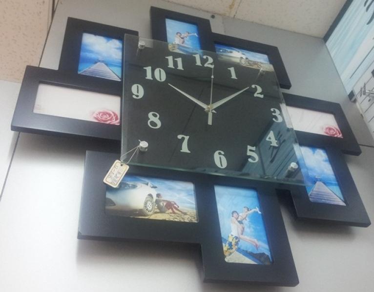 Фото - Часы с фоторамками Зигзаг купить в киеве на подарок, цена, отзывы
