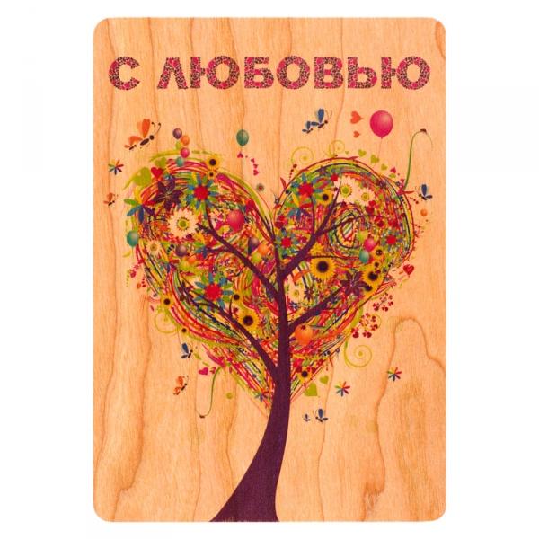 Фото - Деревянная открытка Дерево - сердце купить в киеве на подарок, цена, отзывы