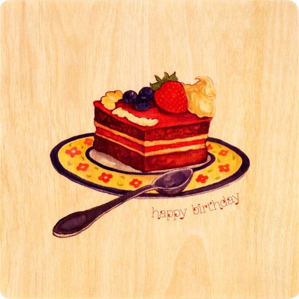 Фото - Деревянная открытка Торт купить в киеве на подарок, цена, отзывы