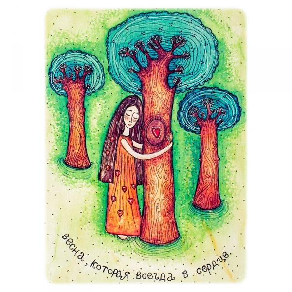 Фото - Деревянная открытка Весна в сердце купить в киеве на подарок, цена, отзывы