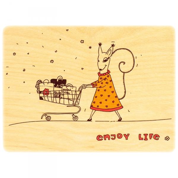 Фото - Деревянная открытка белочка купить в киеве на подарок, цена, отзывы