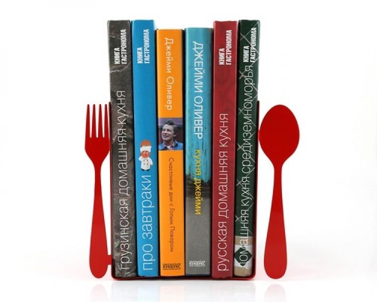 Фото - Держатель для книг Вилка и ложка красные купить в киеве на подарок, цена, отзывы