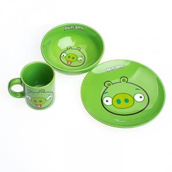 Фото - Детский набор посуды Angry Birds зеленый купить в киеве на подарок, цена, отзывы
