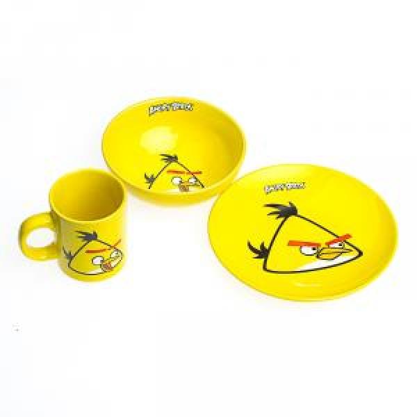 Фото - Детский набор посуды Angry Birds желтый купить в киеве на подарок, цена, отзывы