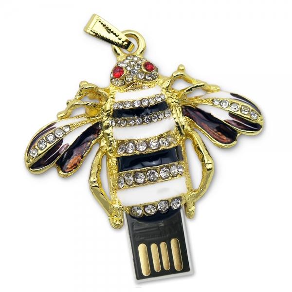 Фото - Флешка 8 Gb металл со стразами Пчёлка купить в киеве на подарок, цена, отзывы