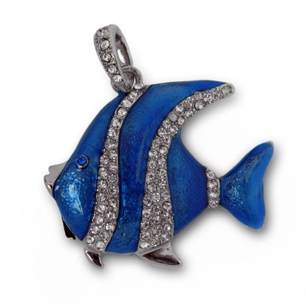 Фото - Флешка 8 Gb металл со стразами Рыбка Скалярия купить в киеве на подарок, цена, отзывы