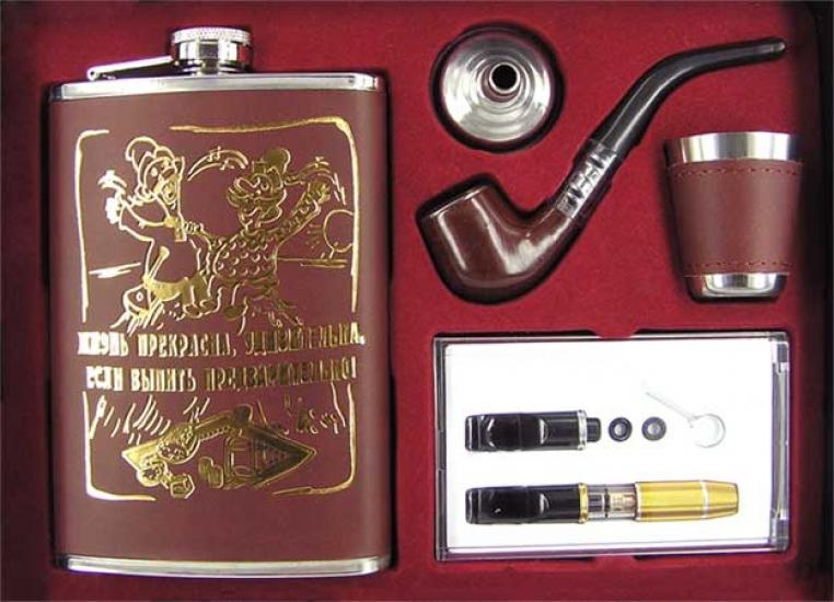 Фото - Фляга - подарочный набор кожа с золотом 4 вида купить в киеве на подарок, цена, отзывы