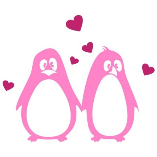 Фото - Интерьерная Наклейка Penguins in Love купить в киеве на подарок, цена, отзывы