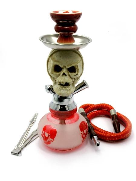 Фото - Кальян (на 1 персону)(27,5 см.) белый с красным в черепа купить в киеве на подарок, цена, отзывы