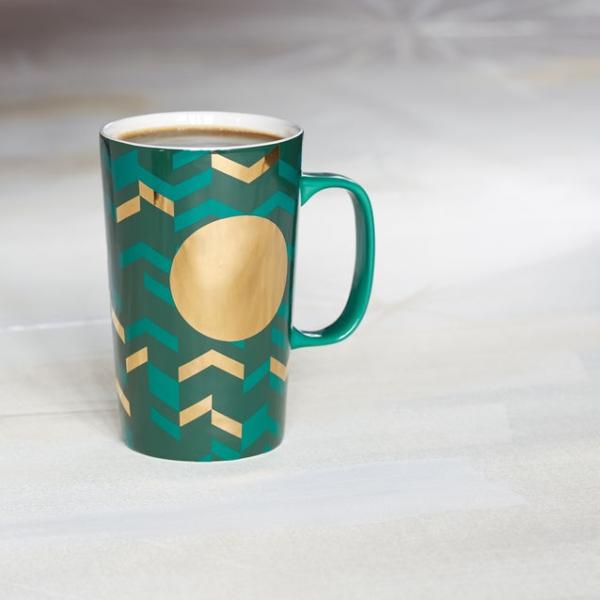 Фото - Керамическая чашка Starbucks Зеленый Шеврон купить в киеве на подарок, цена, отзывы