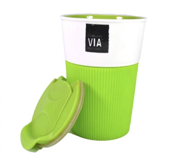 Фото - Керамическая чашка с крышкой зеленая VIA. STARBUCKS купить в киеве на подарок, цена, отзывы