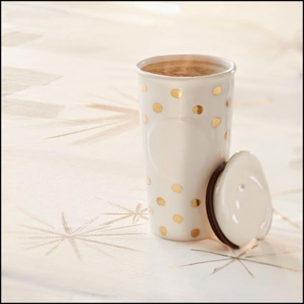 Фото - Керамическая термочашка Starbucks Золотая точка купить в киеве на подарок, цена, отзывы