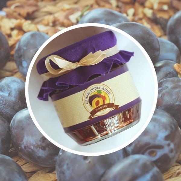 Фото - Конфитюр слива со сливовым вином и грецким орехом (200 г) купить в киеве на подарок, цена, отзывы