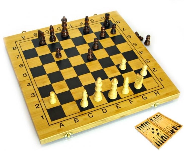 Фото - Нарды+шахматы из бамбука 35см доска купить в киеве на подарок, цена, отзывы
