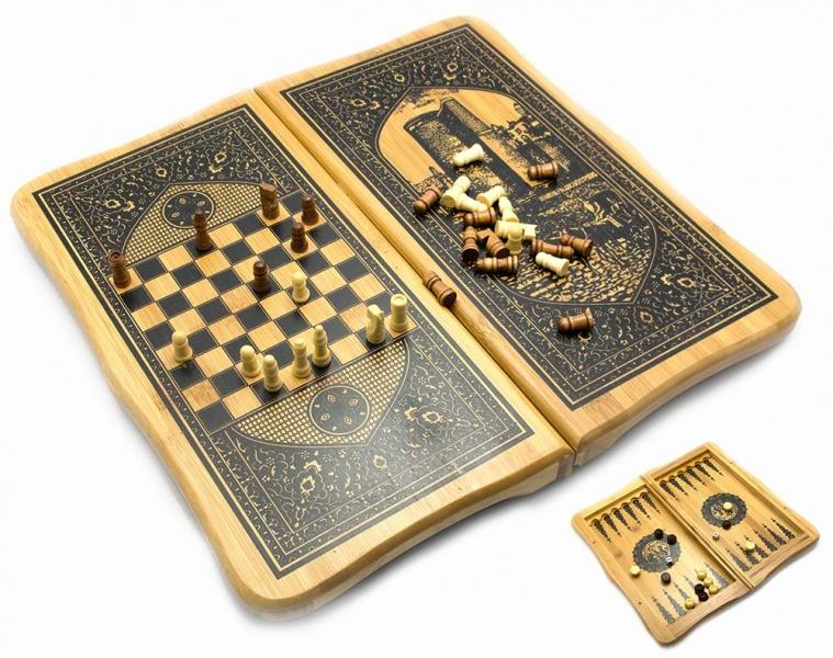 Фото - Нарды с шахматами бамбуковые Баку 40см купить в киеве на подарок, цена, отзывы