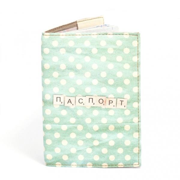 Фото - Обложка на паспорт бирюзовый в белый горошек купить в киеве на подарок, цена, отзывы