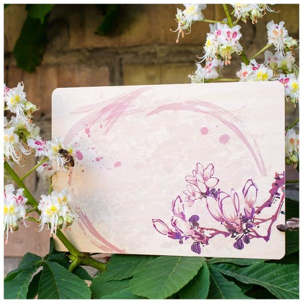 Фото - Открытка на дереве Цветы сакуры купить в киеве на подарок, цена, отзывы