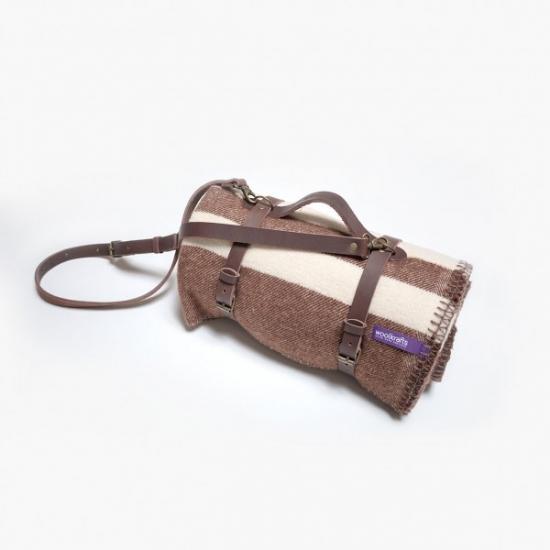 Фото - Плед DUSK STRIPES с кожаным ремешком купить в киеве на подарок, цена, отзывы