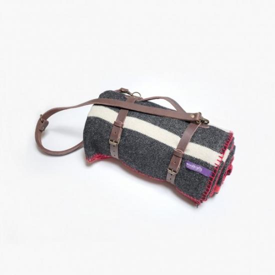 Фото - Плед NOX STRIPES с кожаным ремешком купить в киеве на подарок, цена, отзывы