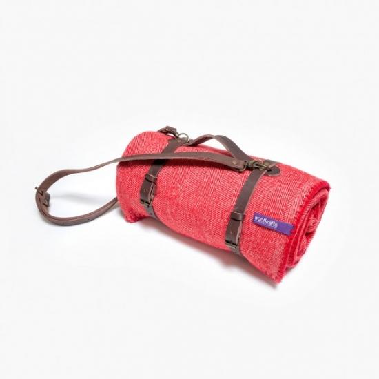Фото - Плед цвета клюквы с кожаным ремешком купить в киеве на подарок, цена, отзывы