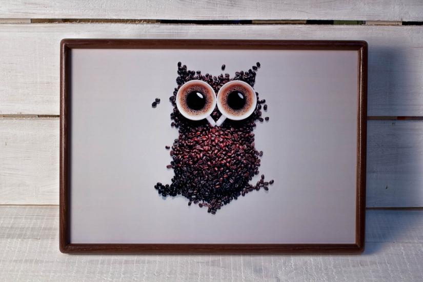 Фото - Поднос с подушкой Кофе-Сова купить в киеве на подарок, цена, отзывы