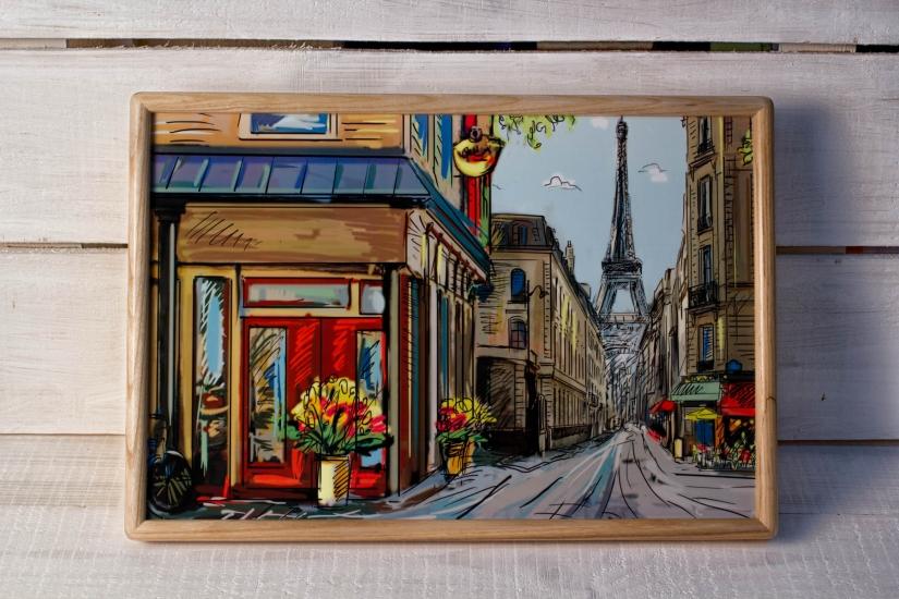 Фото - Поднос с подушкой Париж  купить в киеве на подарок, цена, отзывы